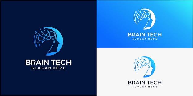 헤드 기술 로고 로봇 기술 로고 템플릿 디자인 일러스트레이션