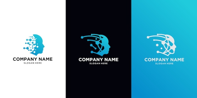 Head tech logo, robotic technology logo template designs illustration