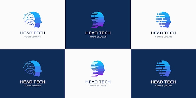 Head tech logo, robotic technology logo template designs illustration