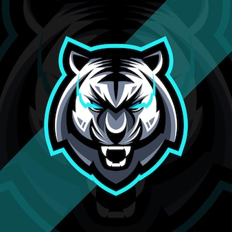 Head tiger angry mascot logo esport design