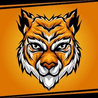 スポーツとeスポーツのロゴのベクトル図の頭の虎の動物のマスコット