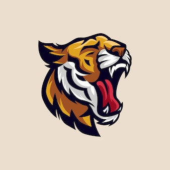 Head tiger esports logo illustration