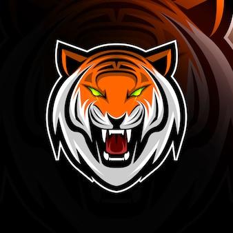 Head tiger mascot logo e-sport design