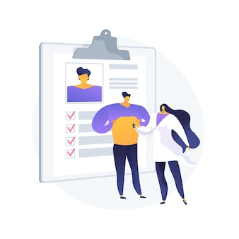 Head to toe physical examination abstract concept vector illustration. head to toe exam, physical examination findings, clinical assessment, ultrasound, all the body systems abstract metaphor.