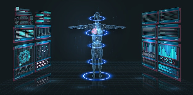 Head up display hud ui, медицинский графический интерфейс. футуристический виртуальный графический современный медицинский интерфейс hud. медицинская инфографика. hi-tech, исследования здоровья человека. диагностическое сканирование, цифровой рентгеновский снимок человеческого тела