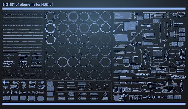 Набор черно-белых инфографики элементов. head-up элементы отображения для интернета и приложений. футуристический пользовательский интерфейс.