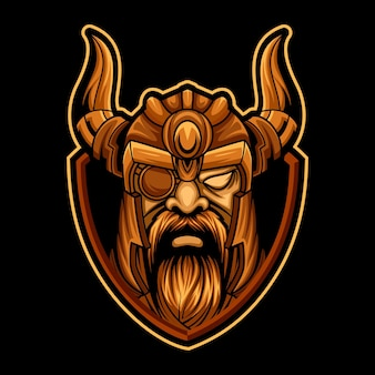 Head viking esport logo team for gaming