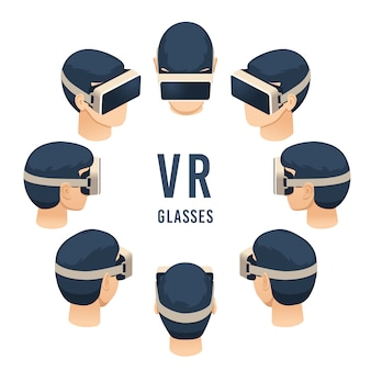 Head in vr glasses, isometric virtual reality headset game or education experience, isolated  set