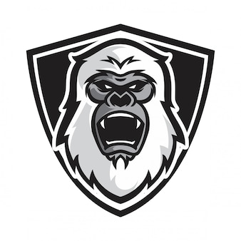 Head white gorilla vector