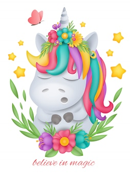 Head of white unicorn cartoon character in round floral frame.