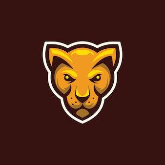 Head wild cat mascot logo