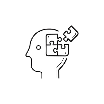 脳のパズルの手描きのアウトライン落書きアイコンで頭。ブレーンストーミング、アイデアの完成、意思決定の概念