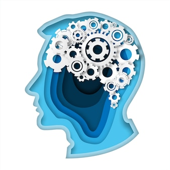 Head with gear brain paper art style thinking concept