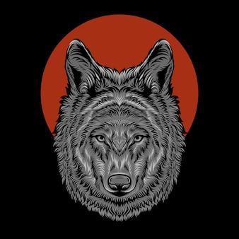 頭のオオカミのイラスト
