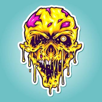 작업 로고, 마스코트 상품 티셔츠, 스티커 및 레이블 디자인, 포스터, 인사말 카드 광고 비즈니스 회사 또는 브랜드에 대한 머리 노란색 좀비 공포 벡터 삽화.