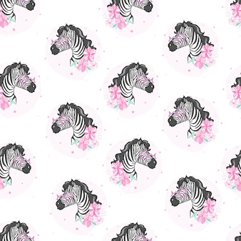 Head zebra seamless pattern