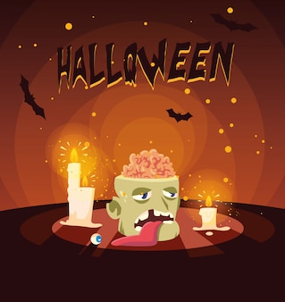 Head of zombie in halloween scenes