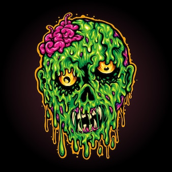 Head  zombie horror halloween vector illustrations for your work logo, mascot merchandise t-shirt, stickers and label designs, poster, greeting cards advertising business company or brands.