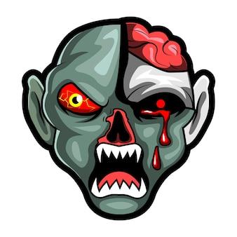 Голова зомби страшно злой, талисман киберспорт логотип векторная иллюстрация