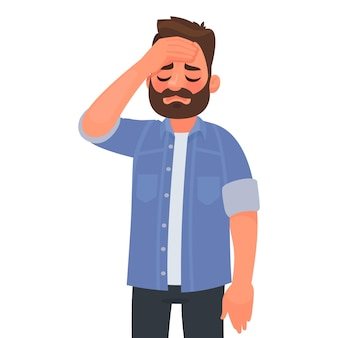 Headache. fatigue or migraine. upset man put his hand to his head. problems at work.