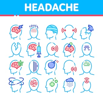 Headache icons collection