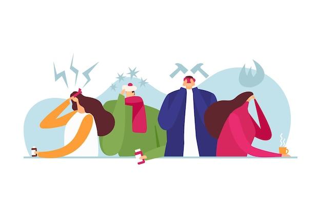 Головная боль, векторные иллюстрации. плоский мужчина женщина персонаж с болью, мигренью, депрессией и болезненной головой. больные с народной повязкой, лекарством и горячим чаем, лекарством от болезней.