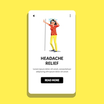 Headache relief after dizziness sick woman