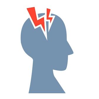 頭痛のシンボル。片頭痛。赤い雷のある頭の輪郭。