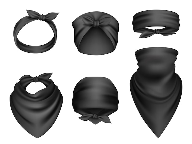 Headbands realistic. sport clothes for head and neck biker travel bandanas gangsta fashion items scarf  template.