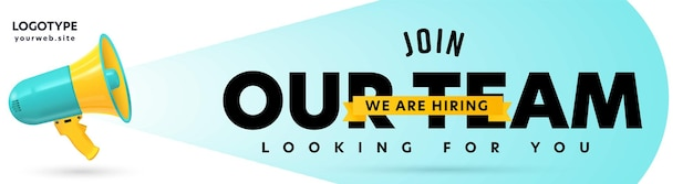 Header banner template with company job recruitment design.