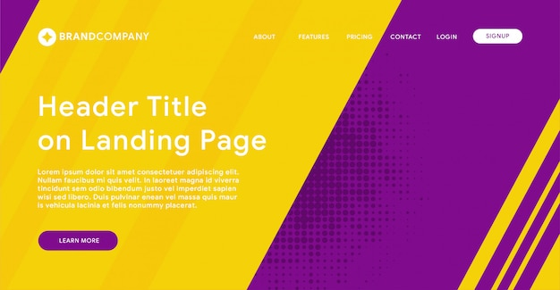 Header of landing page with purple and yellow background