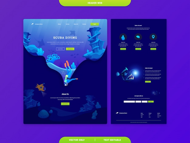 Header web landing page templates