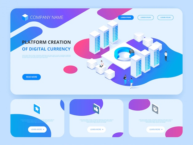 Header for website. cryptocurrency and blockchain. platform creation of digital currency.