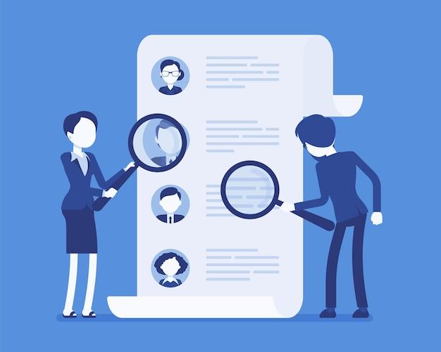 Хедхантеры ищут сотрудника. мужские и женские работники кадровой службы с увеличительным стеклом ищут резюме кандидата, кадровое агентство. векторная иллюстрация, безликие персонажи
