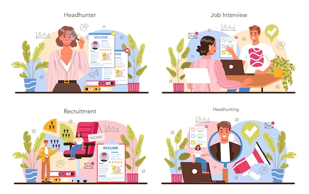 Headhunting concept set idea of business recruitment and human