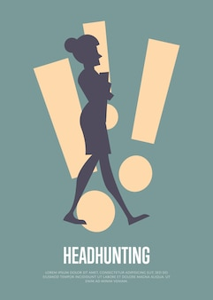 Headhunting illustration with text template with woman silhouette