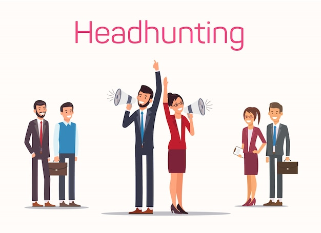 Headhunting man and woman with loudspeaker in hand