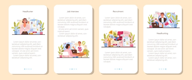 Headhunting mobile application banner set idea of business recruitment