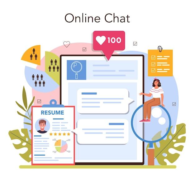 ヘッドハンティングオンラインサービスまたはプラットフォーム。採用と人的資源管理のアイデア。求職者への面接。オンラインチャット。フラットベクトルイラスト