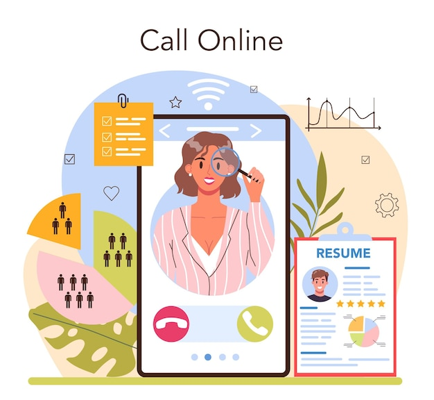 Headhunting online service or platform. idea of business recruitment and human resources management. interviewing a job candidate. online call. flat vector illustration