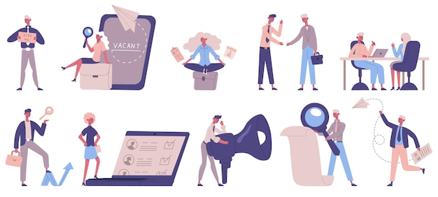 Headhunting service. recruitment, hr managers, vacancies and employer characters, people hiring vector illustration set. job seekers and staff recruitment