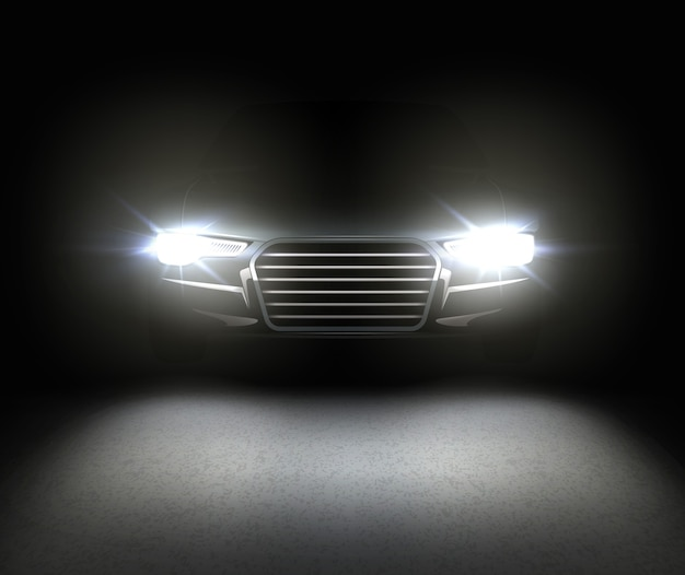 Headlamp glowing effect with reflects on asphalt. isolated on black background