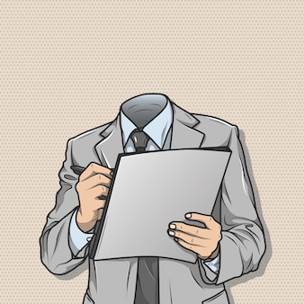 Headless businessman holding files and pen