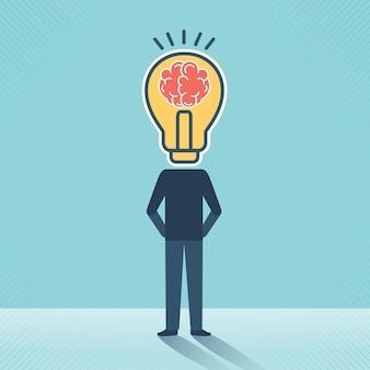 두뇌와 아이디어 개념 창조적인 두뇌와 전구 벡터 디자인을 가진 머리 없는 사업가.