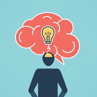Headless businessman with a brain and idea concept creative brain and light bulbs vector design.