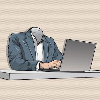 ヘッドレスの実業家のオフィスでラップトップに取り組んで