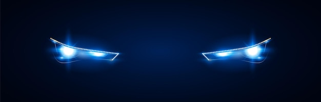 The headlights of a modern car. bright blue light from xenon headlights