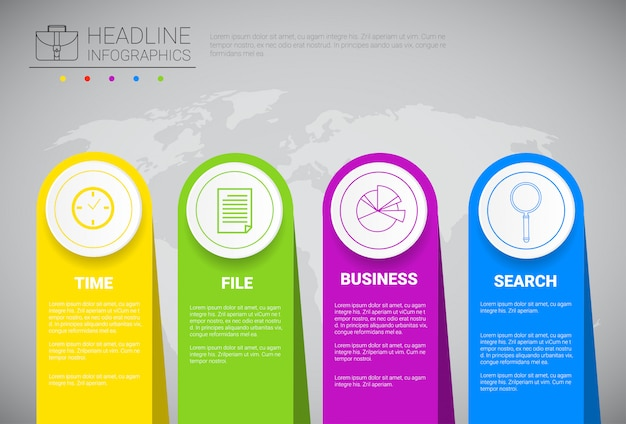 Headline infographic design business data graphic collection over world map presentation copy space