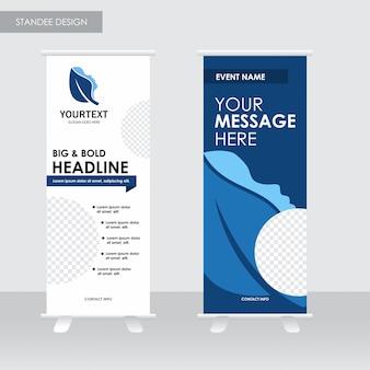 Headline spa logo standee, blue cover design, spa, advertisement, magazine ads, catalog