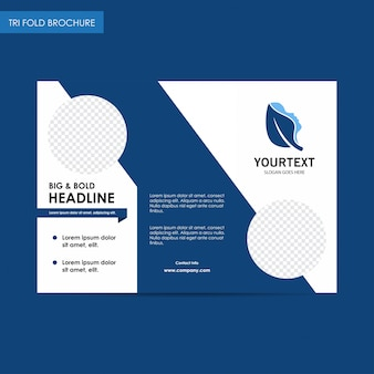 Headline spa logo trifold brochure, blue cover design, spa, advertisement, magazine ads, catalog